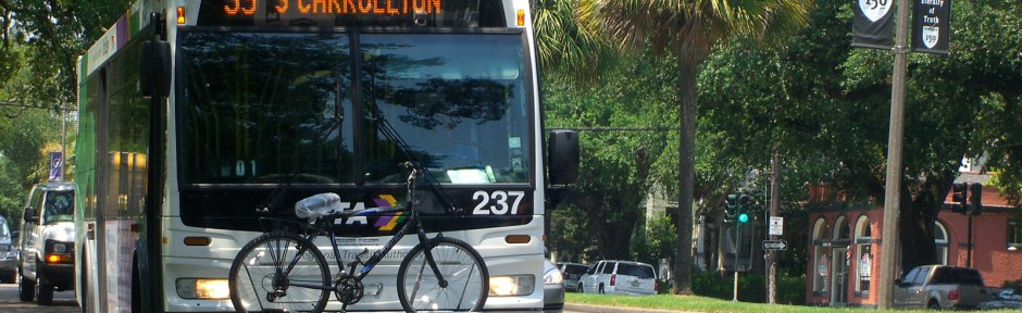 Bike rack in use on the Tulane bus-reduced